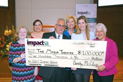Representatives Of The Magik Theatre Receive An Impact SA Grant.