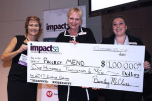 Representatives of Impact SA grant recipient with President Beverley McClure